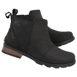 Sorel Emelie Waterproof Leather Black Ankle Boots